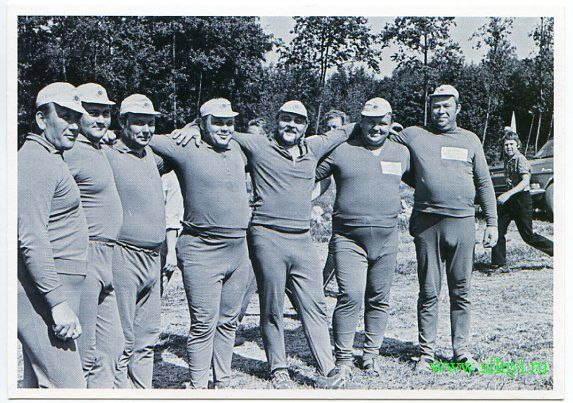 "II-130. A TEAM DRESSED IN ATHLETIC CLOTHING.  Made by ""Marat"" at the foresty worker competition. (1970s)"